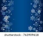 winter card border of snow... | Shutterstock .eps vector #763909618