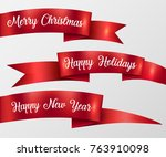 red ribbon merry christmas ... | Shutterstock .eps vector #763910098
