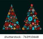 christmas card design. vector... | Shutterstock .eps vector #763910668