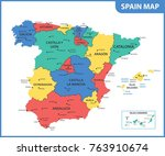the detailed map of the spain... | Shutterstock .eps vector #763910674