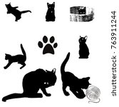 Silhouette Of Black Cat On...