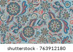 vector bright oriental floral... | Shutterstock .eps vector #763912180