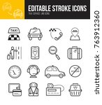 taxi app linear icons set with... | Shutterstock .eps vector #763912360
