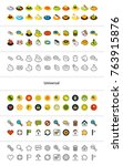 set of icons in different style ... | Shutterstock .eps vector #763915876