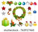 christmas ornaments isolated... | Shutterstock .eps vector #763917460