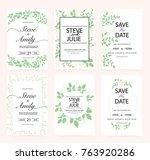 green wedding invitation card | Shutterstock .eps vector #763920286