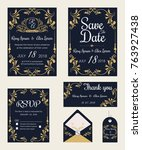 vector set of invitation cards... | Shutterstock .eps vector #763927438