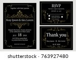 wedding invitation   save the... | Shutterstock .eps vector #763927480