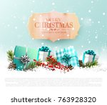 christmas greeting card with... | Shutterstock .eps vector #763928320