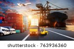 logistics and transportation of ... | Shutterstock . vector #763936360