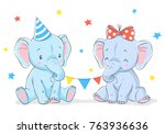 Cute Girl And Boy Elephants...