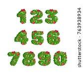 vector numbers in christmas... | Shutterstock .eps vector #763938934