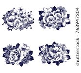 collection of flowers bouquets | Shutterstock . vector #763947304
