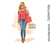 beautiful woman in stylish...   Shutterstock .eps vector #763947436