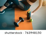 fitness woman with healthy... | Shutterstock . vector #763948150