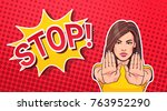 woman gesturing no or stop sign ... | Shutterstock .eps vector #763952290