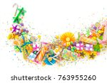 preparation for a birthday  a... | Shutterstock . vector #763955260