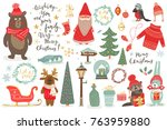 hand drawn christmas set in... | Shutterstock .eps vector #763959880