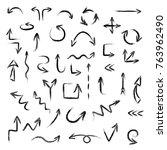 hand drawn doodoe arrows set... | Shutterstock .eps vector #763962490