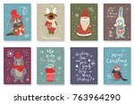 set of cute cards with hand... | Shutterstock .eps vector #763964290