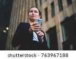 below view of successful female ...   Shutterstock . vector #763967188