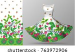 seamless vertical raspberries... | Shutterstock .eps vector #763972906