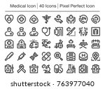 medical line icon editable... | Shutterstock .eps vector #763977040