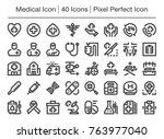 medical line icon editable... | Shutterstock .eps vector #763977040