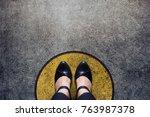 comfort zone concept  woman...   Shutterstock . vector #763987378