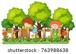 happy children watering plants... | Shutterstock .eps vector #763988638