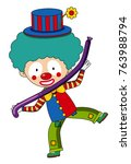 happy clown with purple balloon ... | Shutterstock .eps vector #763988794