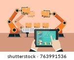 hand using tablet to control... | Shutterstock .eps vector #763991536