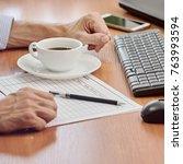 closeup of businessman working | Shutterstock . vector #763993594