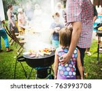 diverse people enjoying... | Shutterstock . vector #763993708