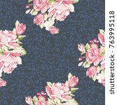 seamless floral pattern with... | Shutterstock .eps vector #763995118