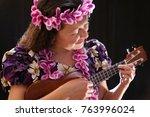 beautiful hawaiian dancer with... | Shutterstock . vector #763996024