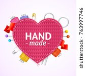 realistic 3d hand made knitted... | Shutterstock .eps vector #763997746
