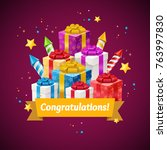 congratulations greeting card... | Shutterstock .eps vector #763997830
