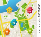 realistic 3d detailed city map... | Shutterstock .eps vector #763998388