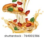 savoury pepperoni pizza  slice... | Shutterstock .eps vector #764001586
