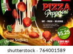 pepperoni pizza with stringy... | Shutterstock .eps vector #764001589