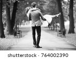 wedding black and white photo... | Shutterstock . vector #764002390