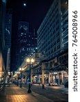 city street at night in chicago'... | Shutterstock . vector #764008966