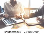 business team hands at working... | Shutterstock . vector #764010904