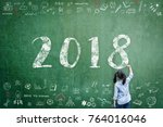 2018 new calendar year greeting ... | Shutterstock . vector #764016046