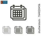 calendar   outline icon on...   Shutterstock .eps vector #764020456