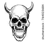 devil's skull  black and white...   Shutterstock . vector #764023684