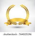 vector gold laurel wreath with... | Shutterstock .eps vector #764025196