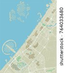 vector city map of dubai with... | Shutterstock .eps vector #764033680