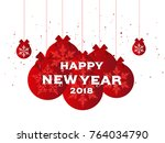 2018 happy new year background... | Shutterstock .eps vector #764034790
